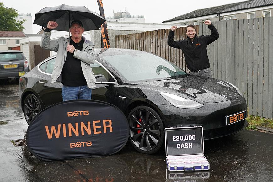Andrew wins Tesla Model 3 + £20k   BOTB Winners   Win Your ...
